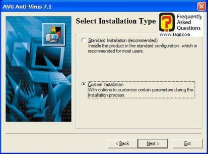 בחרו Custom,  להתקנת AVG 7.5