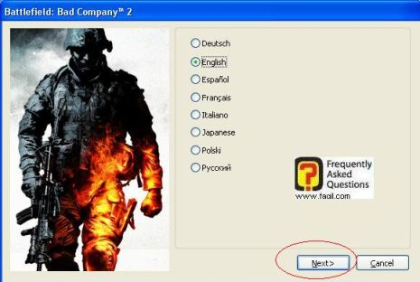 בחירת שפה,המשחק Battlefield Bad Company 2  (באטפילד בד קומפני 2)