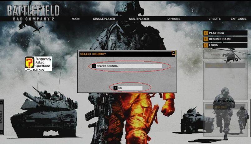 בחירת מדינה, המשחק Battlefield Bad Company 2  (באטפילד בד קומפני 2)