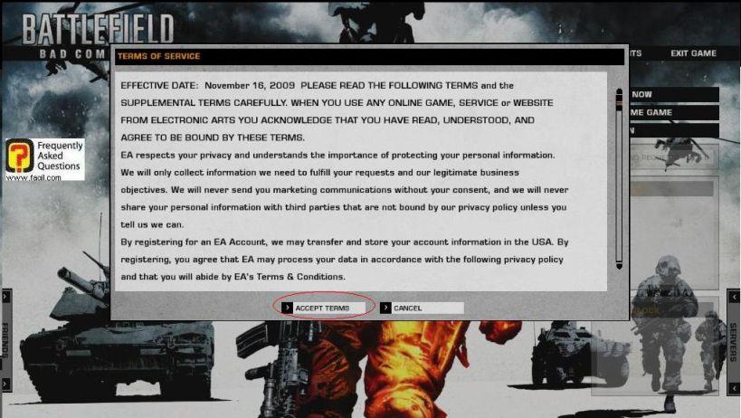 הסכמה לתנאי הרישיון , המשחק Battlefield Bad Company 2  (באטפילד בד קומפני 2)
