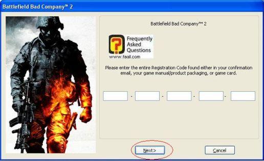 הקשת הקוד הסיריאלי והבא, להתקנת המשחק Battlefield Bad Company 2  (באטפילד בד קומפני 2)