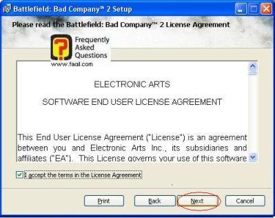 הסכמה לתנאי הרישיון, להתקנת  המשחק Battlefield Bad Company 2  (באטפילד בד קומפני 2)