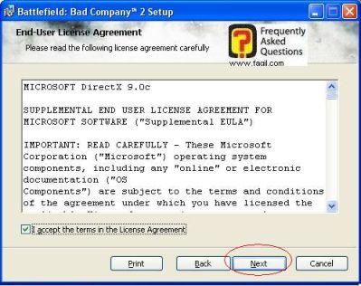 הסכמה לתנאי הרישיון של DiretcX, להתקנת המשחק Battlefield Bad Company 2  (באטפילד בד קומפני 2)