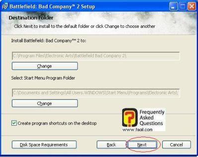 בחירת מיקום היעד להתקנה, להתקנת המשחק Battlefield Bad Company 2  (באטפילד בד קומפני 2)