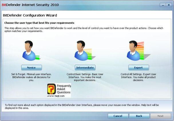 בחירה מתחיל מתקדם או מומחה,BitDefender Internet Security 2010