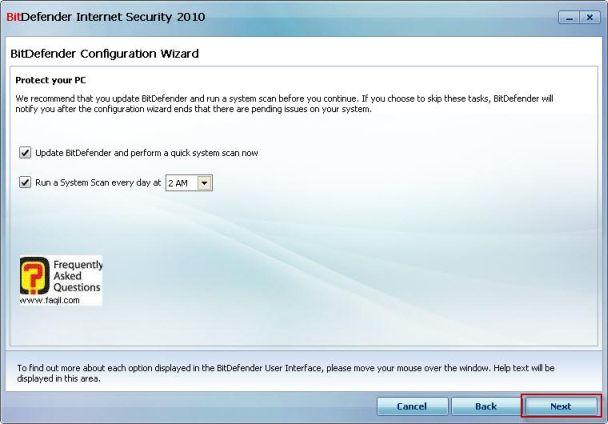 בחרו בשעה המתאימה לסריקה , BitDefender Internet Security 2010