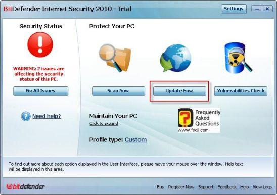 עדכון האנטיוירוס , BitDefender Internet Security 2010