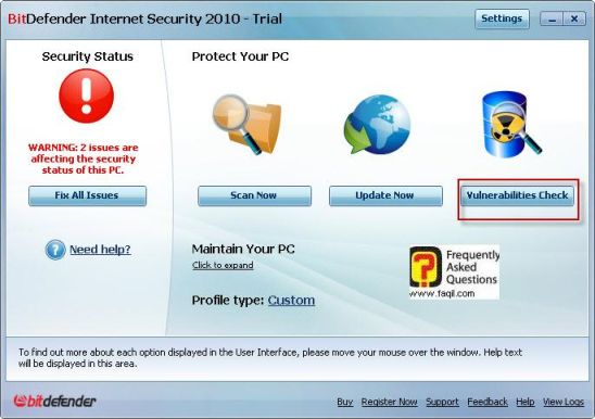 בדיקת נקודות תורפה,BitDefender Internet Security 2010
