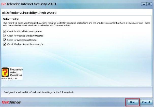 מה יבדק בנקודות התורפה,BitDefender Internet Security 2010