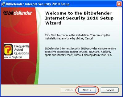 מסך ברוכים הבאים להתקנה, BitDefender Internet Security 2010