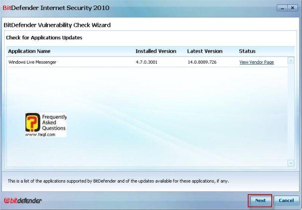 דוגמה לנקודות תורפה, BitDefender Internet Security 2010