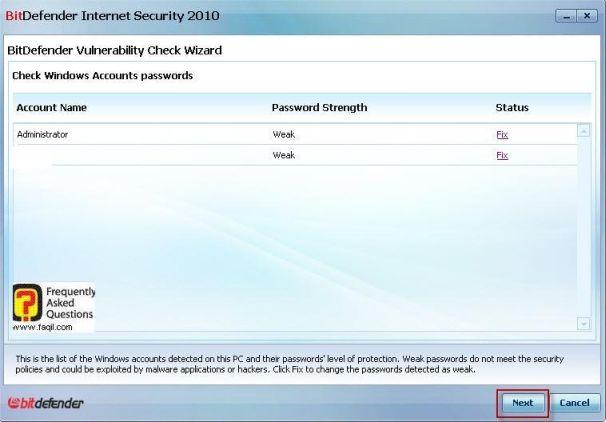 תיקון בחשבונות את נקודת התורפה, BitDefender Internet Security 2010