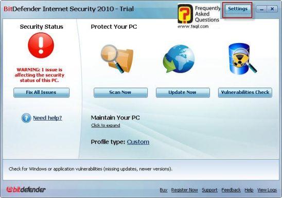 הגדרות, BitDefender Internet Security 2010