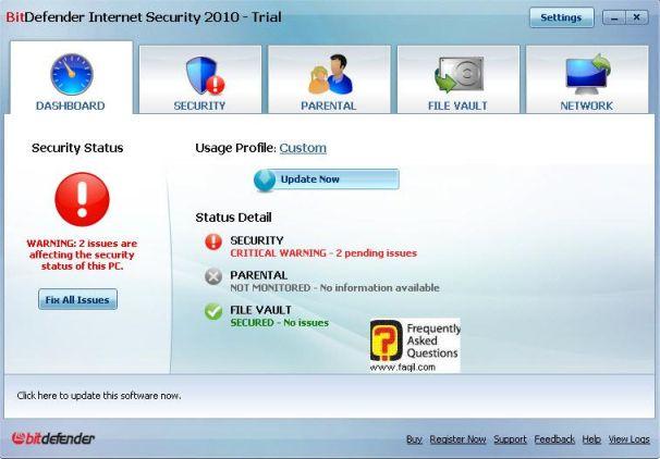 לוח מחוונים, BitDefender Internet Security 2010