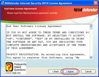 מסך הסכם הרישיון להתקנה, BitDefender Internet Security 2010