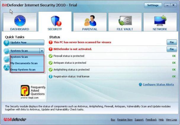 בחירה בלשונית אבטחה, BitDefender Internet Security 2010