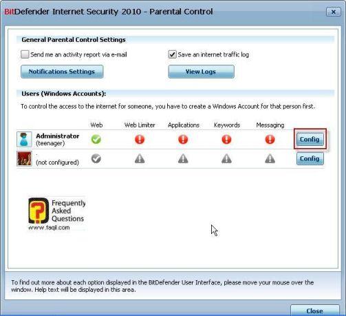 הגדרות מנהל המחשב, BitDefender Internet Security 2010