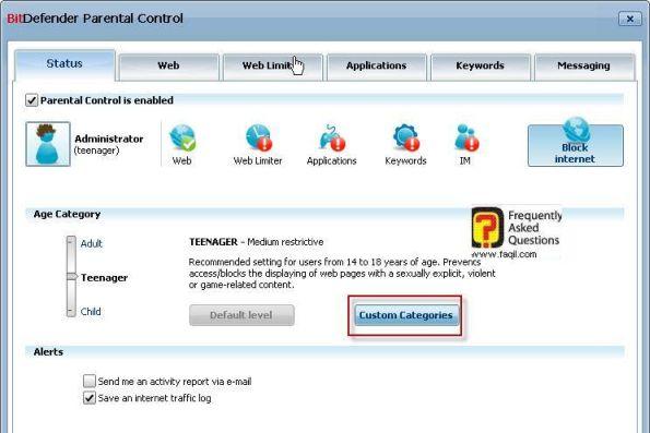בחירה מותאמת אישית לפי קטגוריה, BitDefender Internet Security 2010