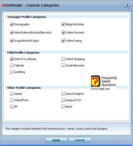 בחירה בסינון המתאים עפ קטגוריה, BitDefender Internet Security 2010