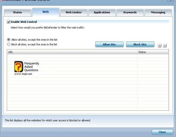 אישור אתרים  וחסימת אתרים  , BitDefender Internet Security 2010