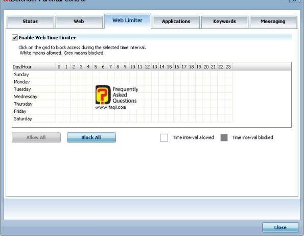הגבלה לפי שעות ויום, BitDefender Internet Security 2010