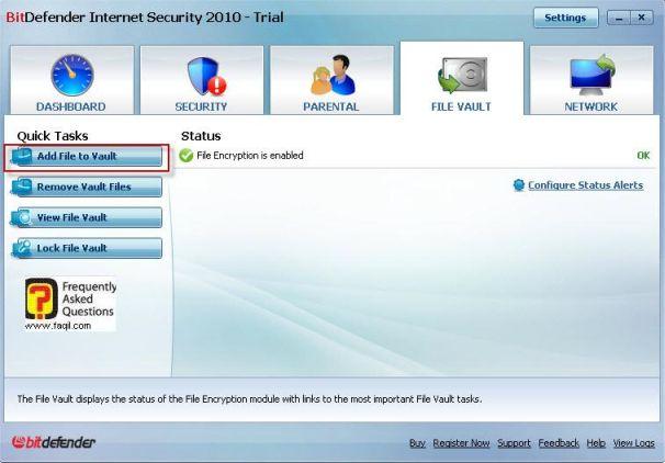 הקבצים עם הערכים שחשוב להגן עליהם תמיד, BitDefender Internet Security 2010