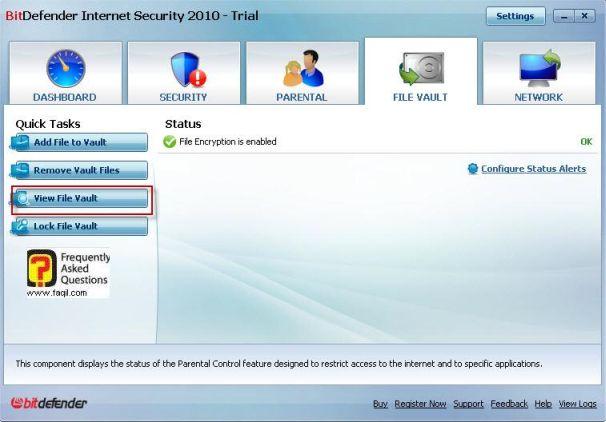 הצג ערכי קבצים, BitDefender Internet Security 2010