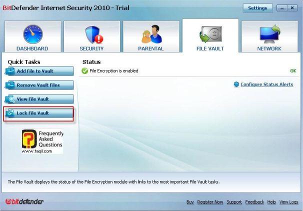 נעילת ערכי קבצים, BitDefender Internet Security 2010