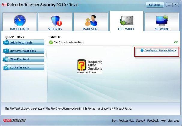 הגדרות תצורה, BitDefender Internet Security 2010