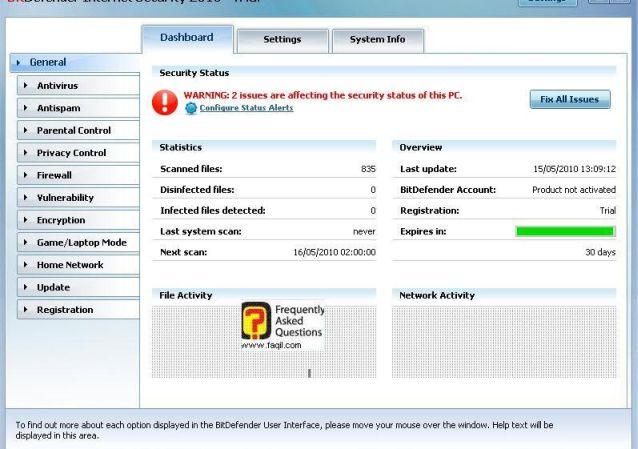 מסך הגדרות כללי, BitDefender Internet Security 2010