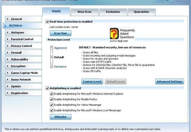 הגדרות אנטיוירוס, BitDefender Internet Security 2010