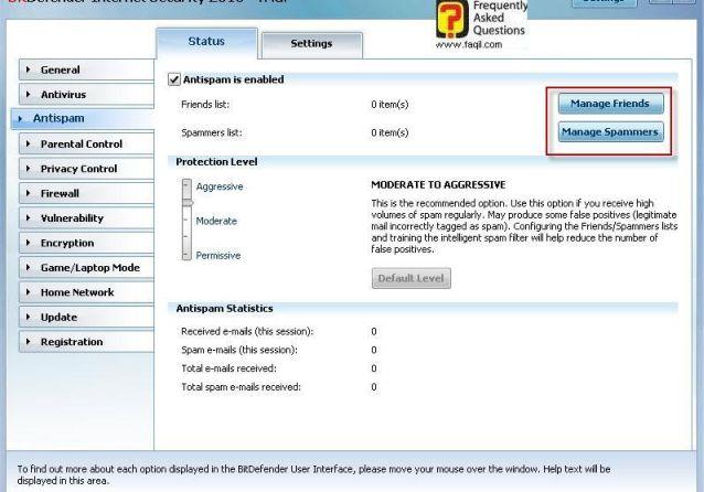 סטטוס אנטי ספאם,BitDefender Internet Security 2010