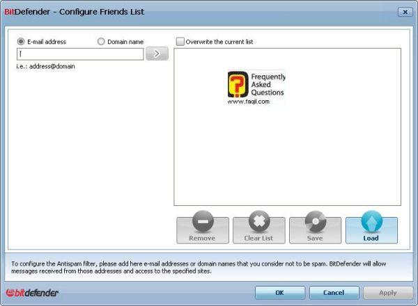 בקש רשימת החברים לא לספאם, ומה כן, BitDefender Internet Security 2010