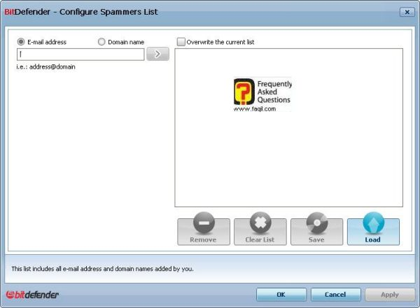 רשימה מה להכניס לספאם ומה לא, BitDefender Internet Security 2010
