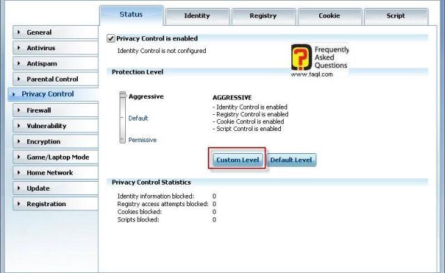 הגדרות פרטיות, BitDefender Internet Security 2010