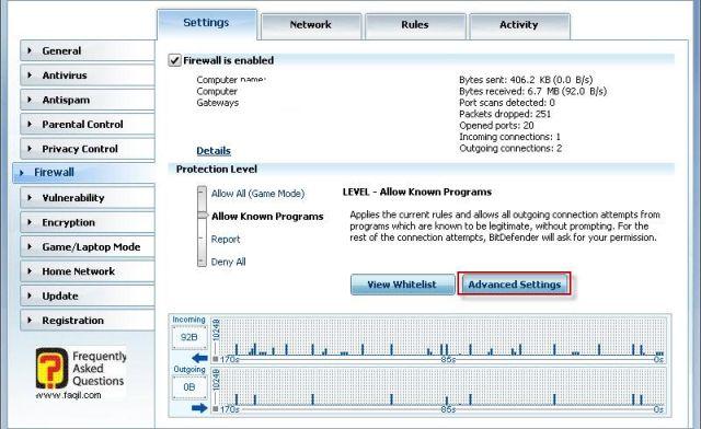 הגעה להגדרות מתקדמות חומת אש,BitDefender Internet Security 2010