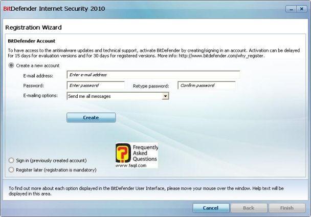 יצירת חשבון כניסה, BitDefender Internet Security 2010