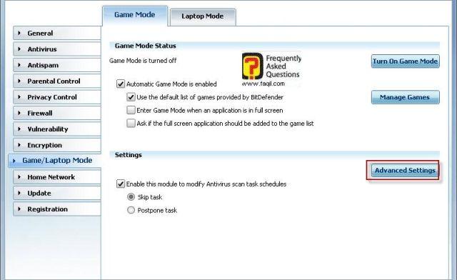 הגדרות מתקדמות למשחק, BitDefender Internet Security 2010
