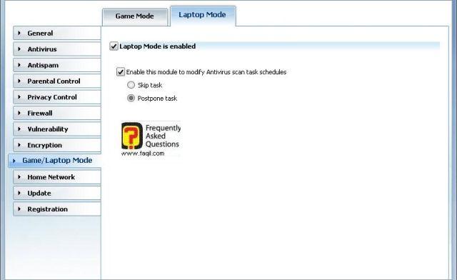 במצב לפטופ-הגדרות משחק , BitDefender Internet Security 2010
