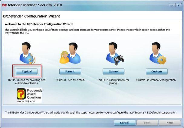 מסך הגדרות ראשוניות,BitDefender Internet Security 2010