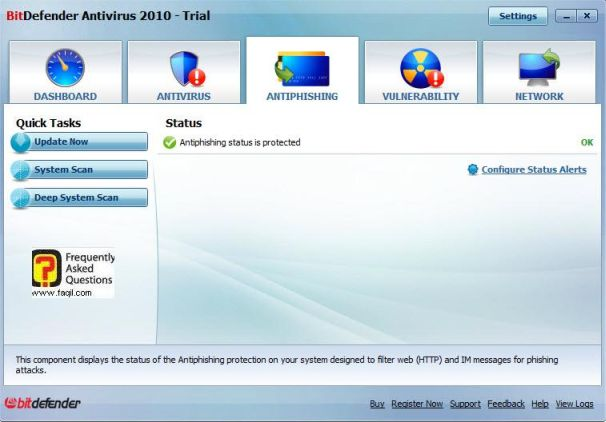 המסך אנטיפישינג,BitDefender Antivirus 2010