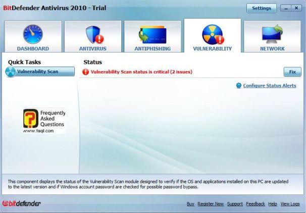 מסך מצב ליקוי אבטחה ,BitDefender Antivirus 2010