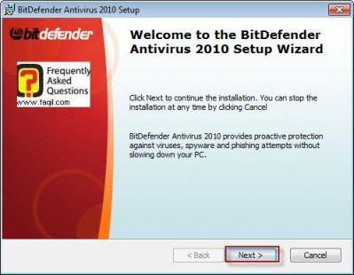 מסך ברוכים הבאים להתקנה,BitDefender Antivirus 2010