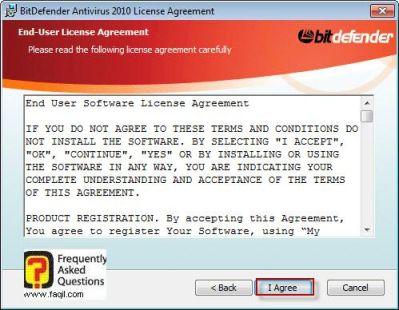 מסך הסכם תנאי השימוש,BitDefender Antivirus 2010