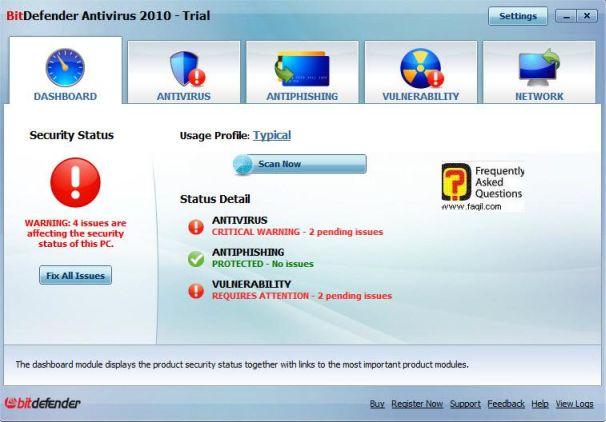 מסך ראשי אנטיוירוס,BitDefender Antivirus 2010