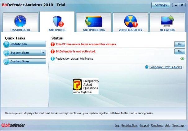 מסך שימוש אנטיוירוס,BitDefender Antivirus 2010