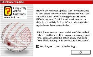 מידע על העדכון בפעם הראשונה, BitDefender 9