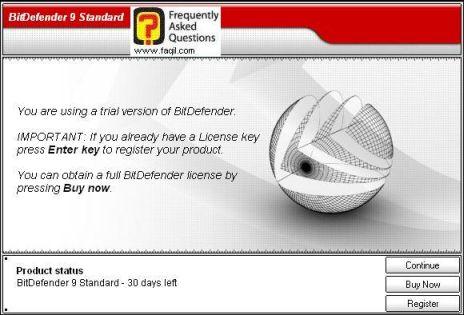 הפעלת האנטיוירוס BitDefender 9, לחצו על המשך