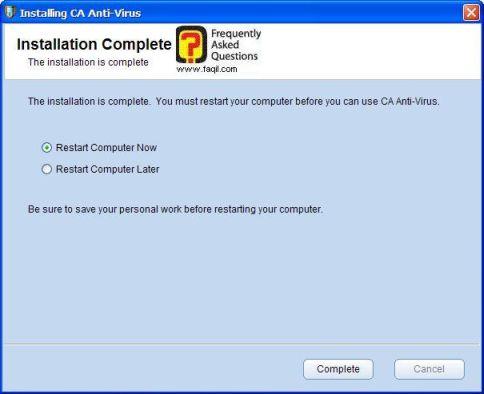 ההתקנה הסתיימה, הפעילו  מחדש את המחשב, ca anti virus