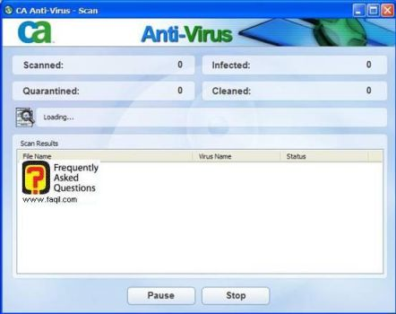 החלה הסריקה, ca anti virus